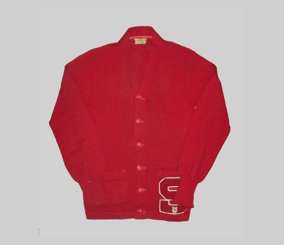 Old Vtg 1950s Letterman Varsity Sweater Size 38 S… - image 1