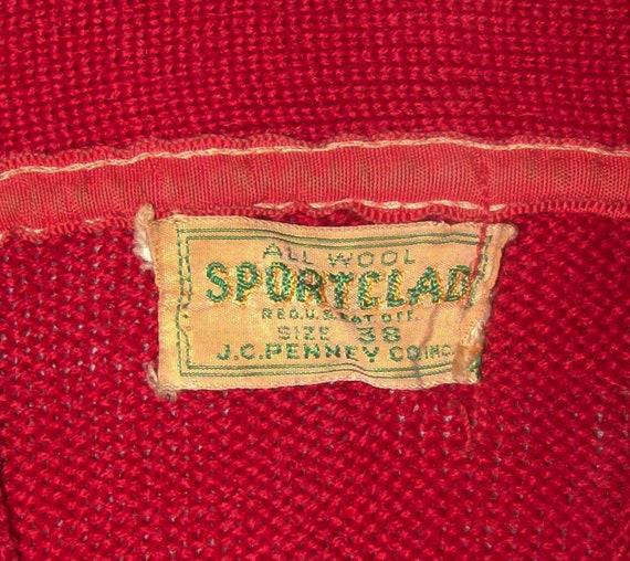 Old Vtg 1950s Letterman Varsity Sweater Size 38 S… - image 3