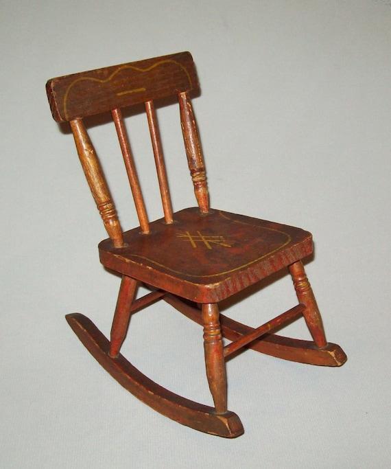 Terrific Antique Ca 1900S Stenciled Doll Size Rocking Chair Original Paint Old Vtg Spiritservingveterans Wood Chair Design Ideas Spiritservingveteransorg