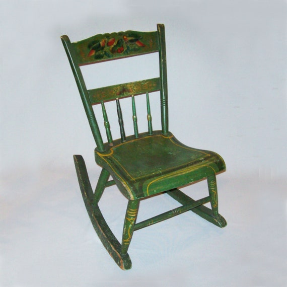 Groovy Antique Vtg 19Th C 1870S Rocking Chair Original Stenciled Parrots Paint Finish Beatyapartments Chair Design Images Beatyapartmentscom