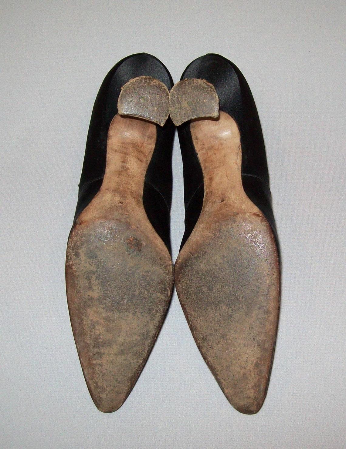Antiquariato Vtg 19th C 1890s Edwardian Ladies High Heel Black Silk Shoess Size 5 Vittorian - Scarpe alla moda vrK0L93n beYTOj qegY7U