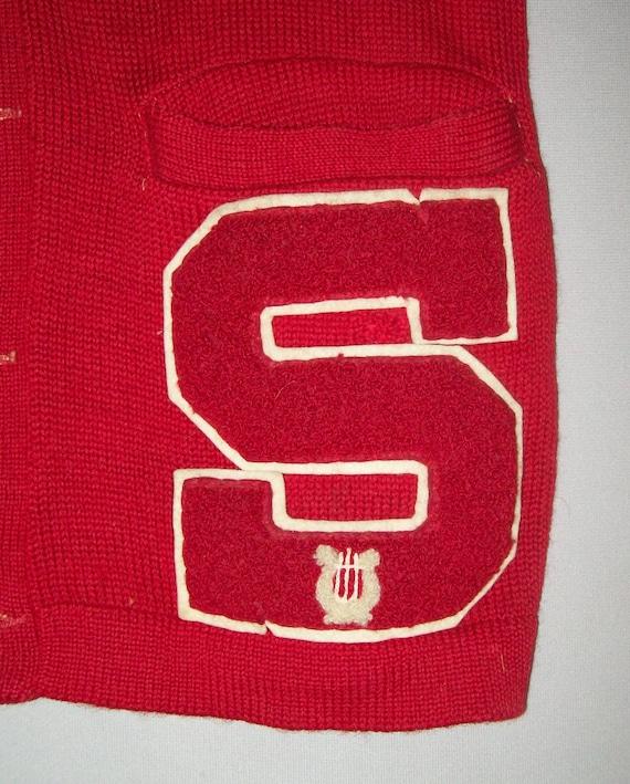 Old Vtg 1950s Letterman Varsity Sweater Size 38 S… - image 5