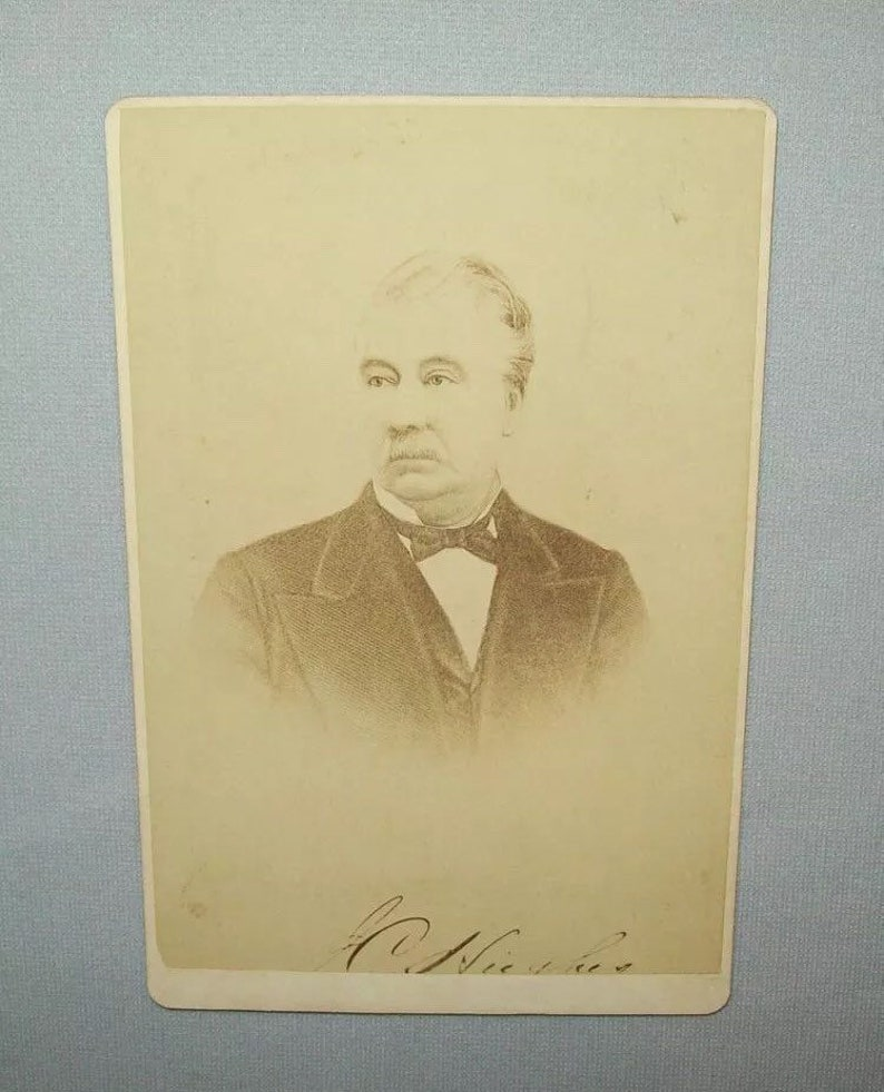 Antique Ca 1870s Cabinet Card Photo John C Hughes 1821-1881 Iowa State University Photograph