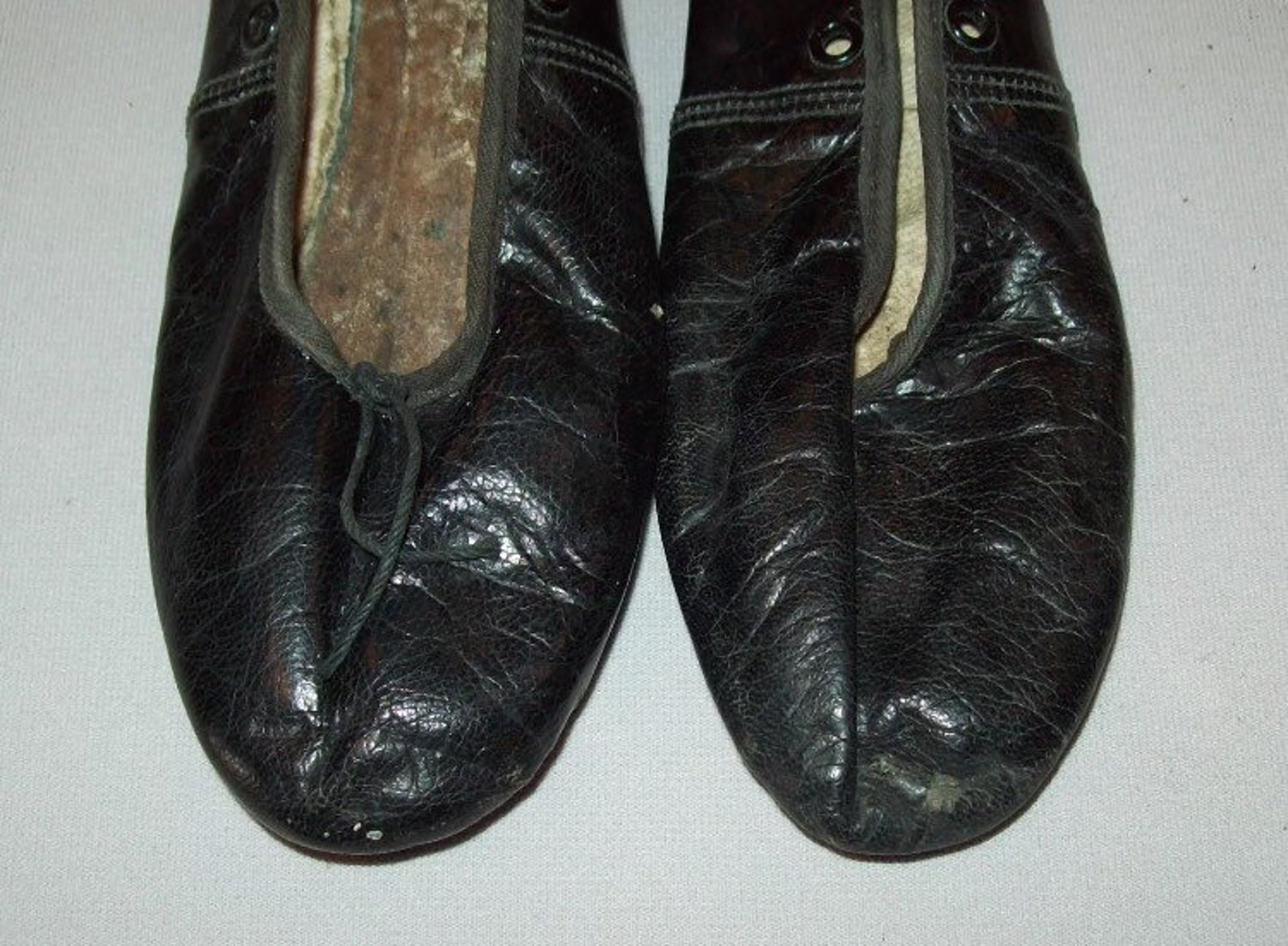 nice 19th c pair of mid 19th century leather ballet slippers or shoes