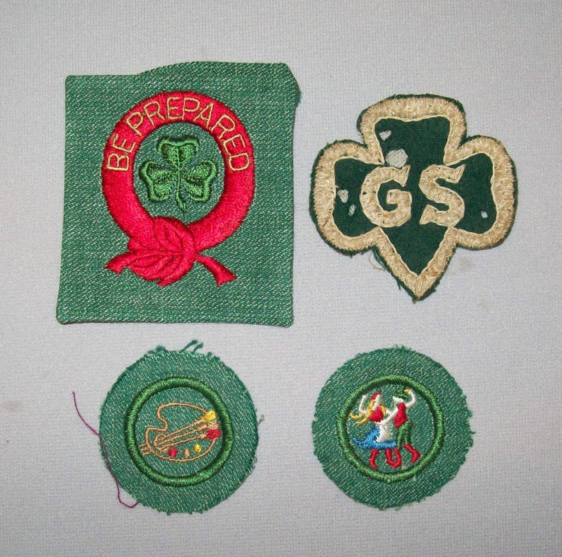 Old Vtg 1950's Group of Four Cloth Girl Scout Patches Cut Square and Cut  Round