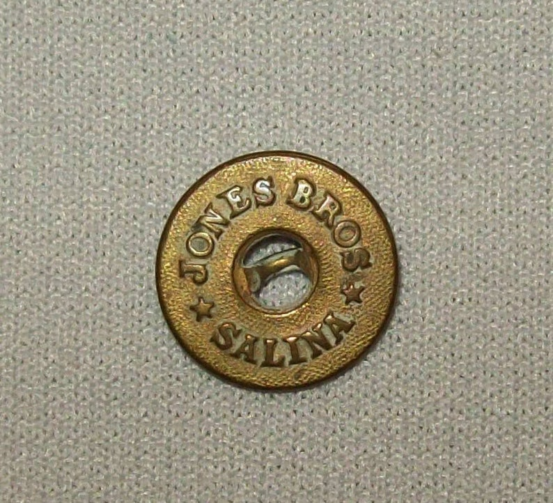 Antique Ca 1910s Jones Bros Salina Brass Button Workwear Clothing Coat Denim Old Vtg