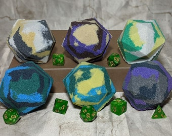 Gift Set: 6 D&D Bath Bombs with 1 set of RPG dice (Support Spells)