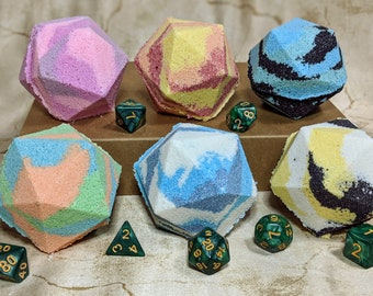 Gift Set: 6 D&D Bath Bombs with 1 set of RPG dice (Elemental Attack Spells)