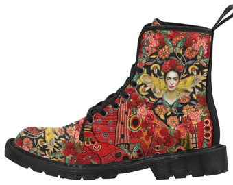 Frida Kahlo Women's Bohemian Renaissance Comfortable Streetwear Martin Boots, Artsy Boots, Funky Boots