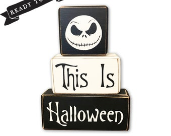 jack skellington this is halloween nightmare before christmas halloween decoration wood sign stacking wood blocks