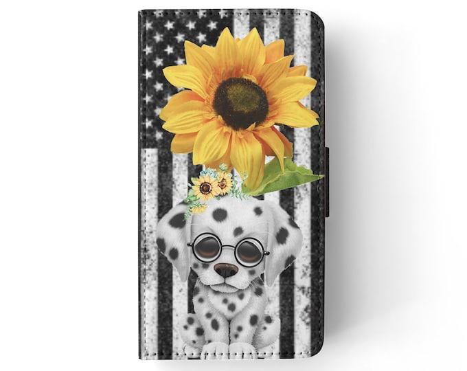sunflower | dalmatian | dog | stars and stripes | iPhone flip wallet  iPhone samsung galaxy Case