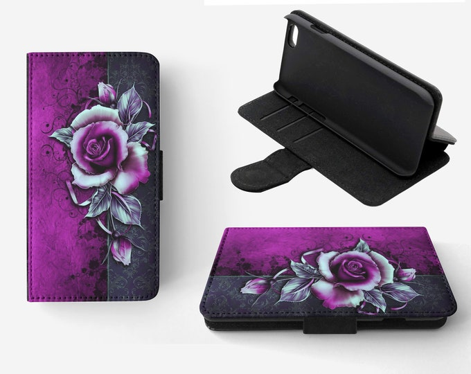 Girly Rose Phone Flip Wallet Case Cover for Apple iPhone & Samsung Galaxy