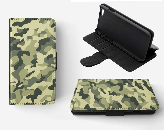 Camouflage Light Green Phone Flip Wallet Case Cover for Apple iPhone & Samsung Galaxy