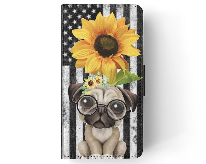 sunflower | pug | dog | stars and stripes | iPhone flip wallet  iPhone samsung galaxy Case