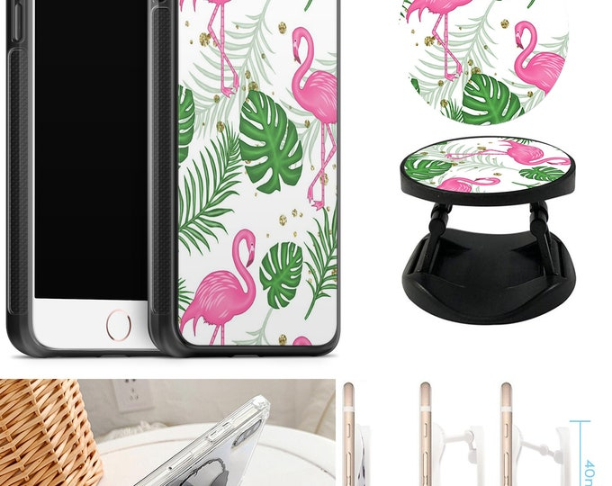 Flamingo Case With Expanding Phone Holder iPhone & Samsung Galaxy Rubber TPU CASE