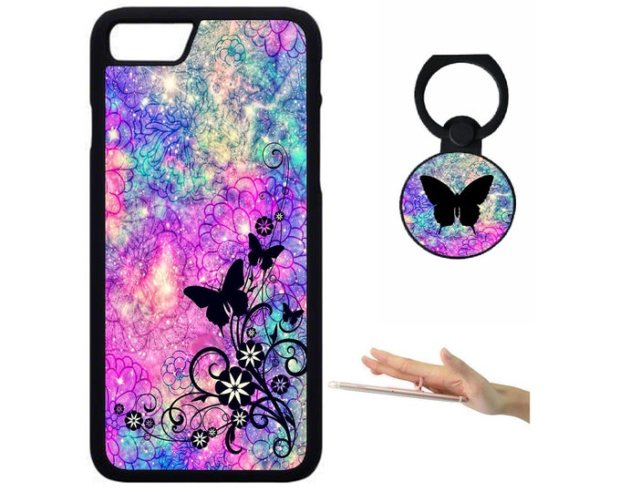 Butterfly iPhone Samsung Galaxy Rubber TPU Phone Case With Ring Holder