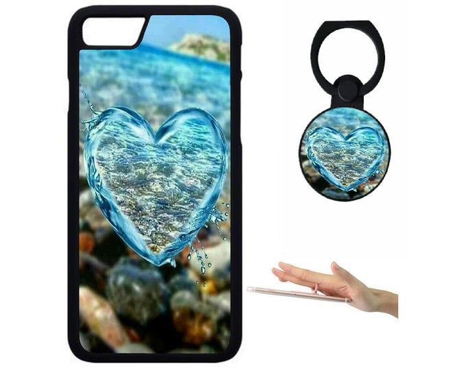 Heart iPhone Samsung Galaxy Rubber TPU Phone Case With Ring Holder