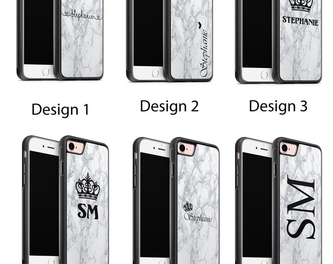 Personalised initials Name Custom Marble Phone Case Cover for Apple iPhone & Samsung Galaxy Rubber TPU Gel