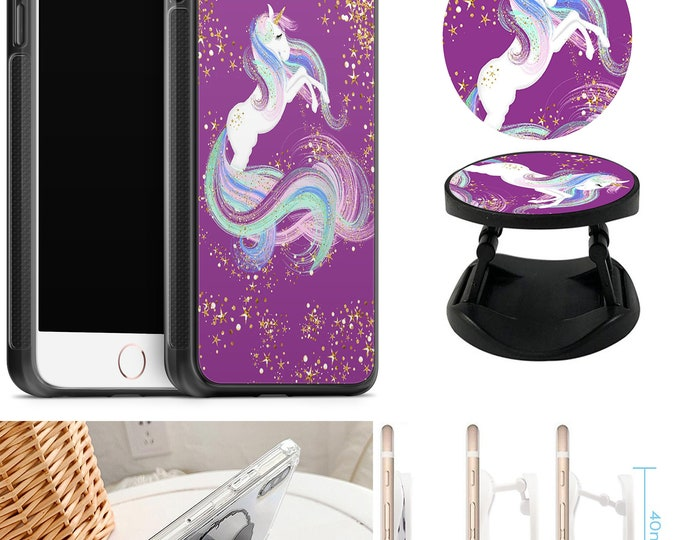 Unicorn Case With Expanding Phone Holder iPhone & Samsung Galaxy Rubber TPU CASE