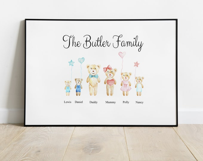 Cute Teddies Teddy Bears, Personalised Family Picture A4 Perfect Christmas Birthday Gift Present For Mum Dad Nanna Kids