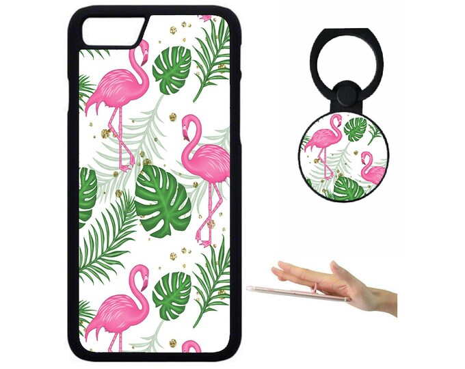 Flamingo iPhone Samsung Galaxy Rubber TPU Phone Case With Ring Holder