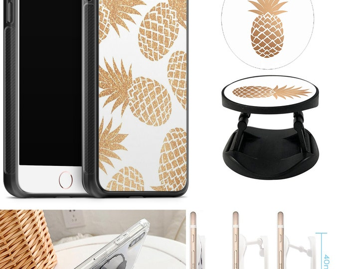 Pineapple Case With Expanding Phone Holder iPhone & Samsung Galaxy Rubber TPU CASE
