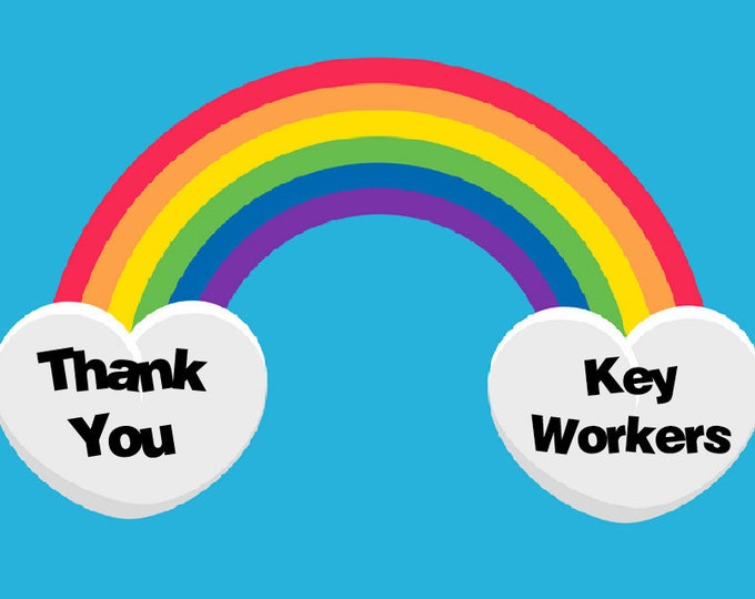 650 - Thank You KEY WORKER Labels Small Stickers