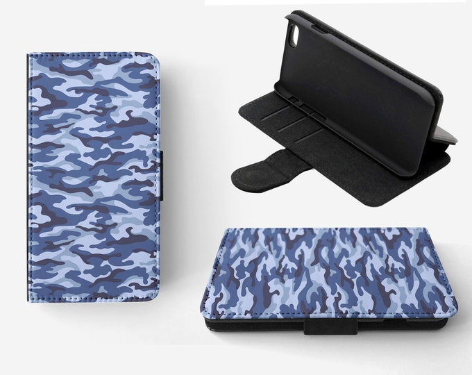 Camouflage Blue Phone Flip Wallet Case Cover for Apple iPhone & Samsung Galaxy