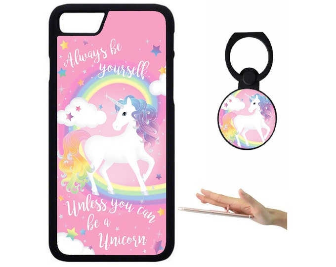 Unicorn iPhone Samsung Galaxy Rubber TPU Phone Case With Ring Holder