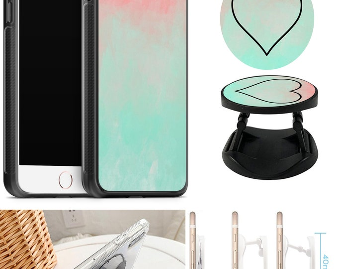 Hearts Case With Expanding Phone Holder iPhone & Samsung Galaxy Rubber TPU CASE