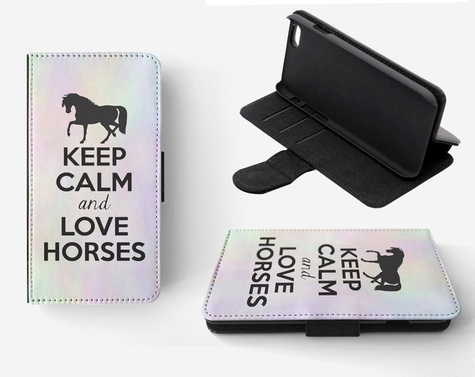 Keep Calm And love Horses Phone Flip Wallet Case Cover for Apple iPhone & Samsung Galaxy