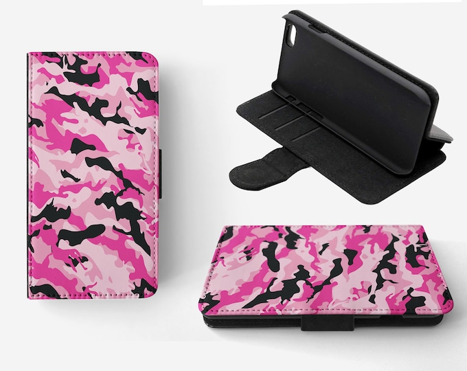 Camouflage Pink Black Phone Flip Wallet Case Cover for Apple iPhone & Samsung Galaxy