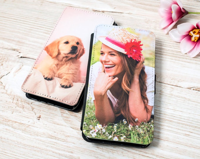 Custom Personalised Photo Apple iPhone & Samsung Galaxy Flip wallet case Cover