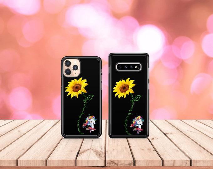 You are my sunshine | sunflower | unicorn | iPhone Samsung Galaxy Phone Case