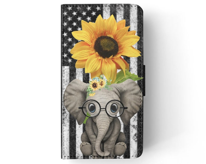 sunflower | elephant | stars and stripes | iPhone flip wallet  iPhone samsung galaxy Case