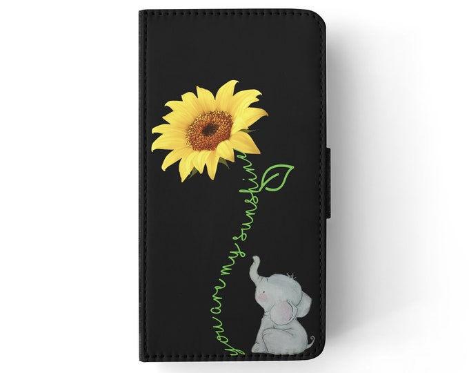 you are my sunshine | sunflower | elephant | iPhone flip wallet  iPhone samsung galaxy Case