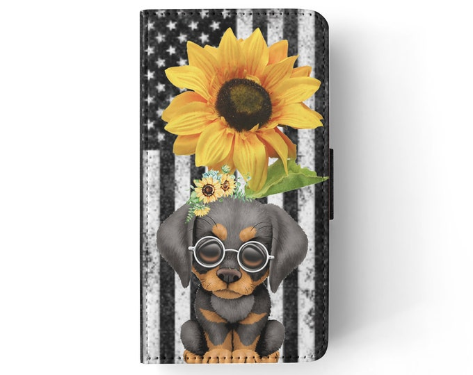 sunflower | doberman | dog | stars and stripes | iPhone flip wallet  iPhone samsung galaxy Case