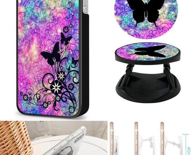 Butterfly Case & Expanding Phone Holder iPhone Samsung Galaxy Phone Case