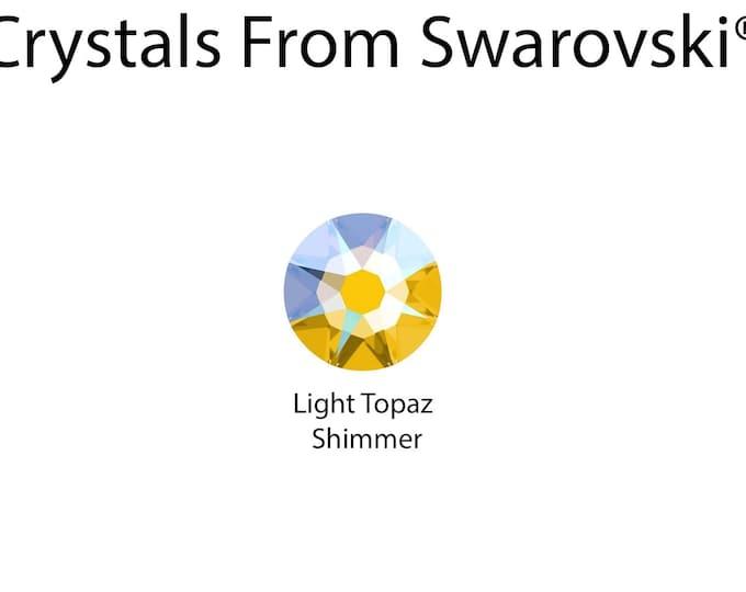 CRYSTALS FROM SWAROVSKI® 6mm Light Topaz Shimmer Stud Earrings gift Boxed or bag