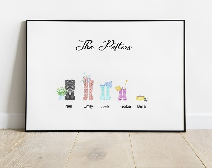 Welly Boot Family, Welly Boot Print, Personalised family print, Ideal Gift
