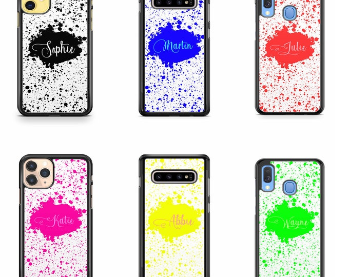Personalised Ink Splat Name Custom Phone Case Cover for iPhone | Samsung