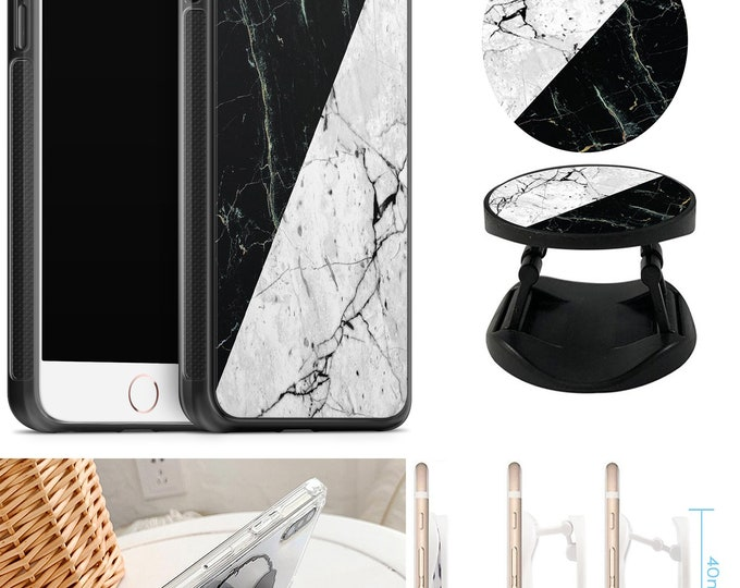 Marble Case With Expanding Phone Holder iPhone & Samsung Galaxy Rubber TPU CASE
