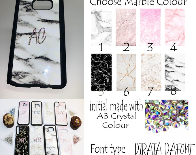 Personalised | Crystal | Rhinestone | Bling Name Initial Custom Marble Phone Case