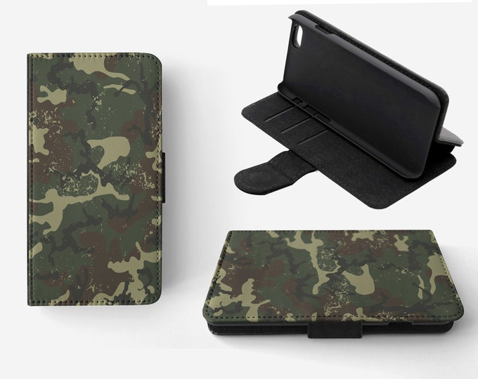 Camouflage Dark Green Phone Flip Wallet Case Cover for Apple iPhone & Samsung Galaxy