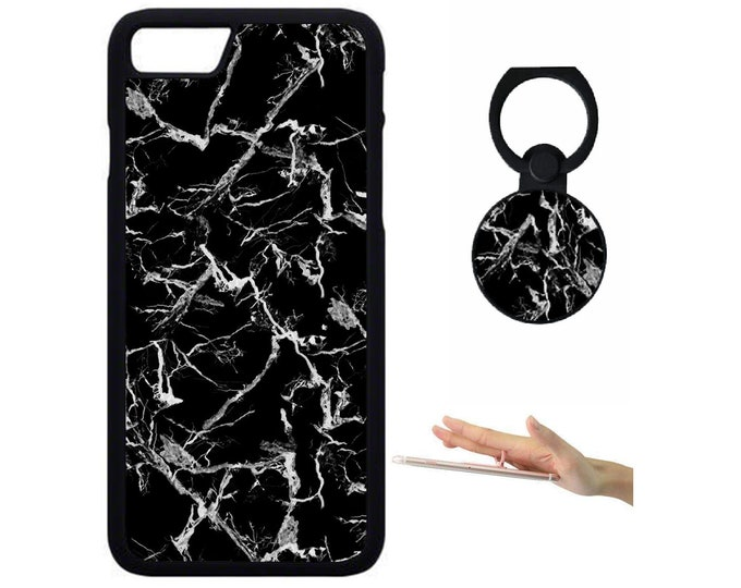 Marble iPhone Samsung Galaxy Rubber TPU Phone Case With Ring Holder