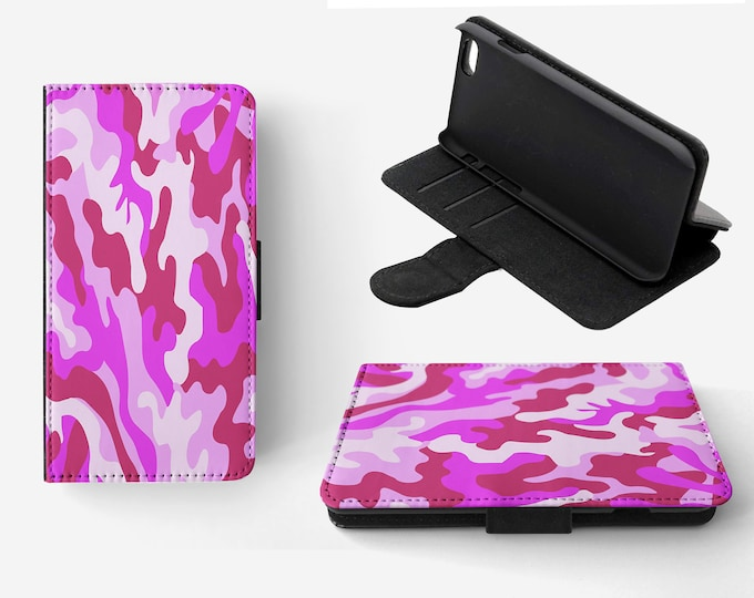 Camouflage Pink Phone Flip Wallet Case Cover for Apple iPhone & Samsung Galaxy