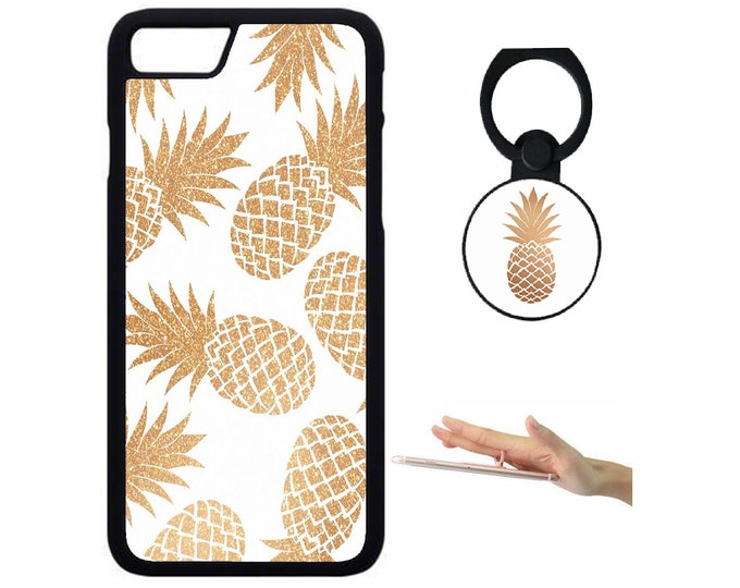 Pineapple iPhone Samsung Galaxy Rubber TPU Phone Case With Ring Holder