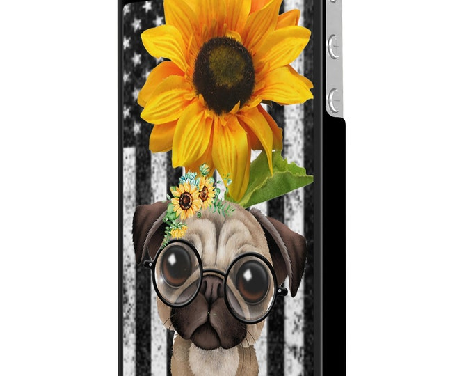 sunflower | pug | dog | stars and stripes | iPhone Samsung Galaxy Phone Case