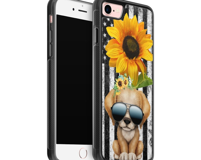 sunflower | puppy | dog | stars and stipes | iPhone Samsung Galaxy Rubber TPU Phone Case
