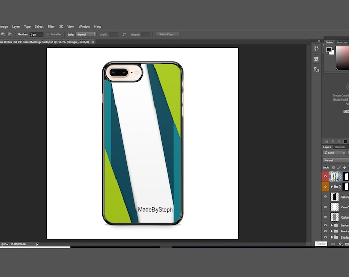 Sublimation iphone 8 Plus case template mockup | Add your own image and background